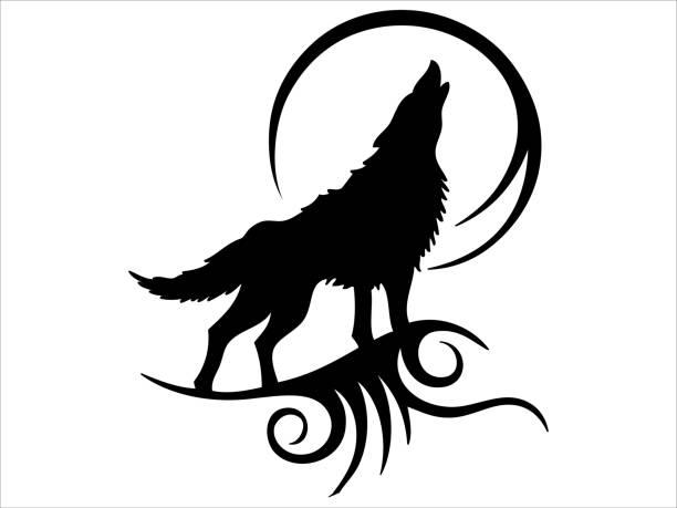 bildbanksillustrationer, clip art samt tecknat material och ikoner med tribal tattoo ylande wolf design - varg