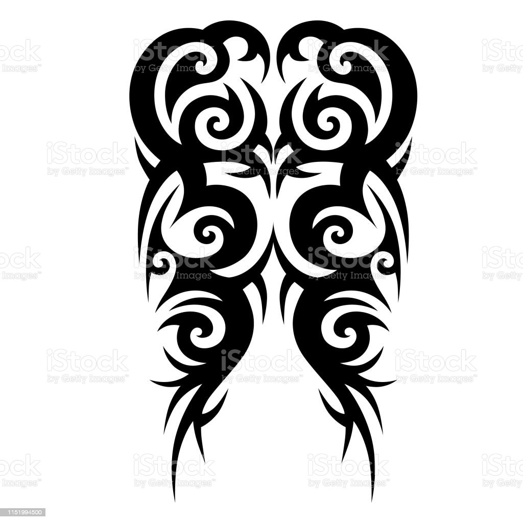 Tribal Tattoo Pattern Designs Vector Sketch Simple Abstract Black Ornament On White Background Designer Isolated Art Element For Ideas Decorating The