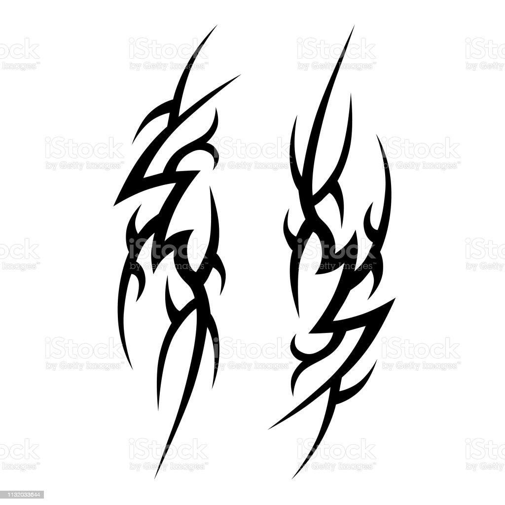 Tribal tattoo pattern vector designs sketch simple abstract black ornament on white background designer