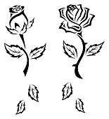 Black and White Tribal Tattoo Roses Set with Leaves