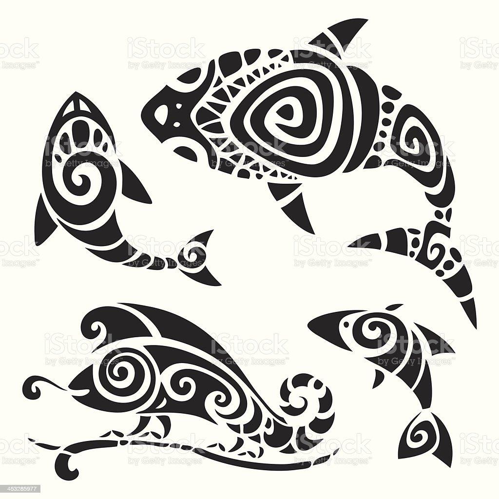 Tribal tattoo set. vector art illustration