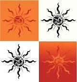 tribal tattoo sun  - VECTOR