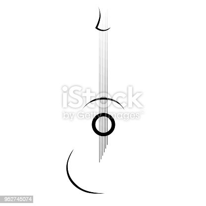 Tribal tattoo vector designs sketch. Simple abstract black guitar on white background. Designer isolated art element for ideas decorating the body of women, men and girls arm, leg.
