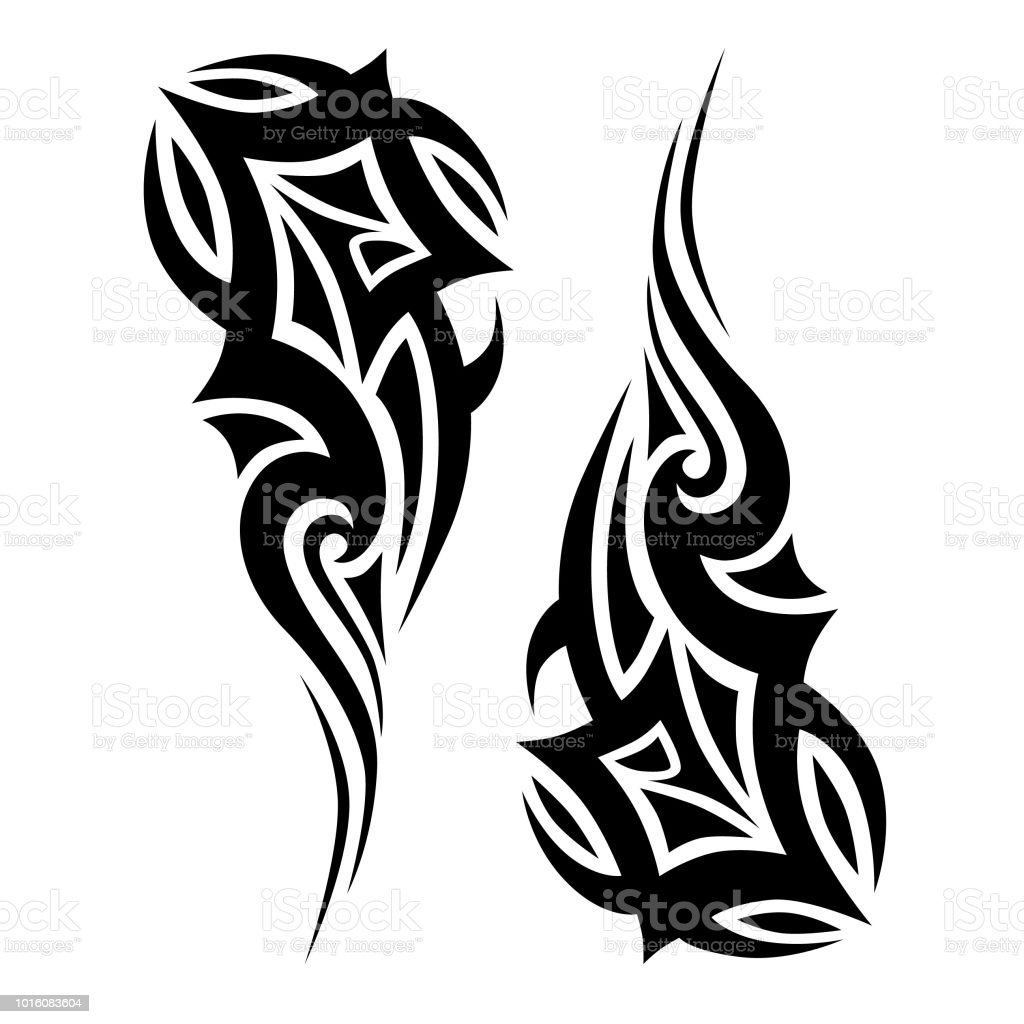 dessins de tatouage tribal vecteur desquisse simple r u00e9sum u00e9 ornement en noir sur fond blanc