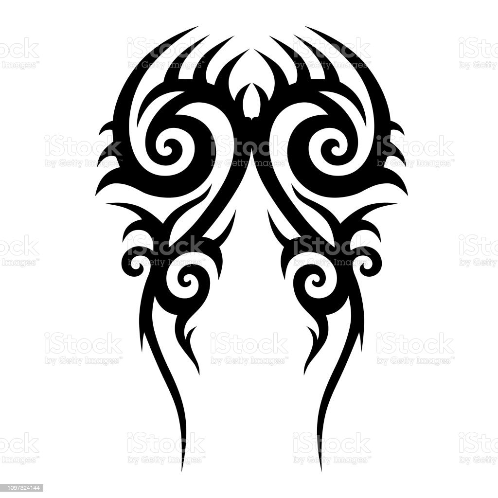 Tribal Tattoo Vector Designs Sketch Simple Abstract Black Ornament On White Background Designer Isolated Art Element For Ideas Decorating The Body Of
