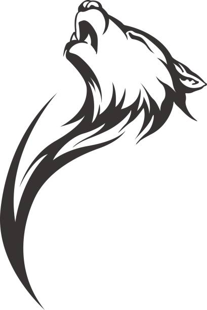 tribal tattoo wolf designs tribal tattoo wolf designs silhouette of a howling coyote stock illustrations