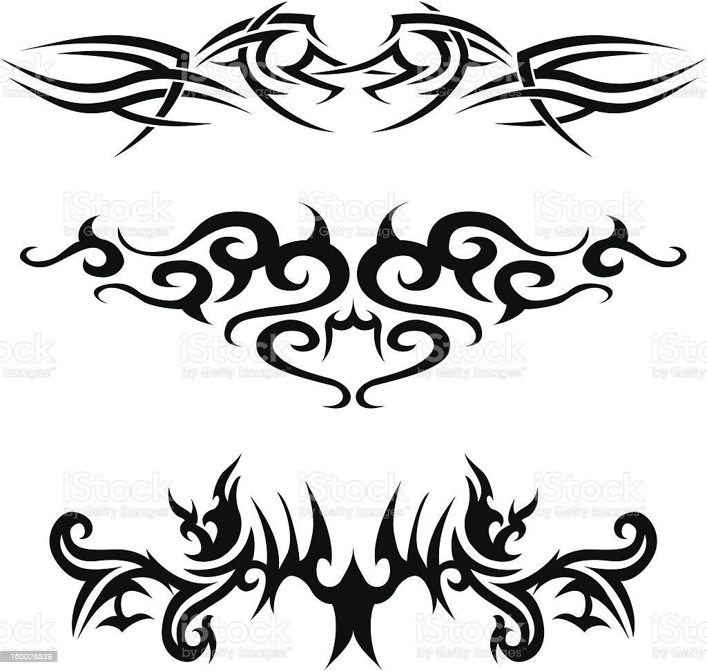 tribal tattoos 3 royalty-free stock vector art