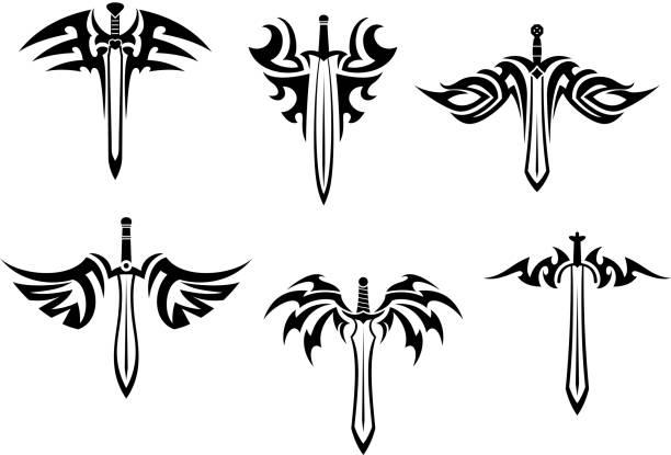 トライバルタトゥーの短剣や刀付き - 短剣のタトゥー点のイラスト素材/クリップアート素材/マンガ素材/アイコン素材
