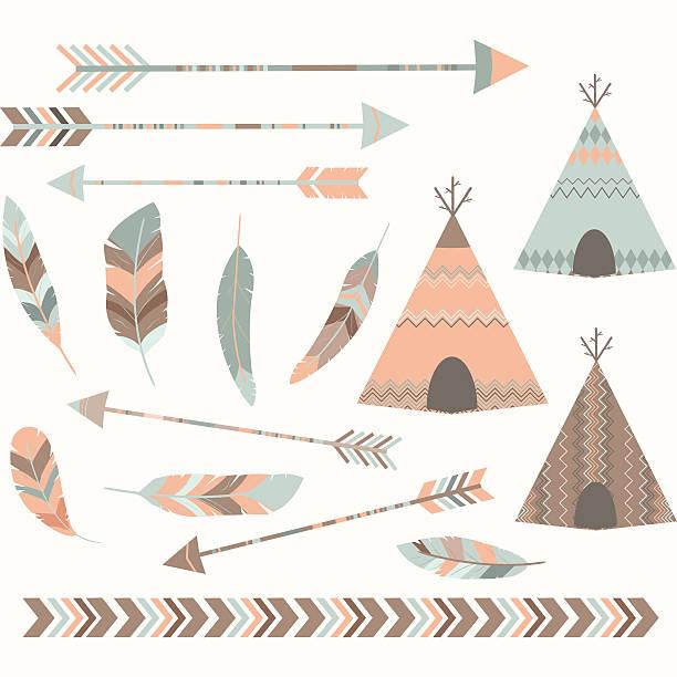 Tribal Tee pee Tents set The vector for Tribal Tee pee Tents set teepee stock illustrations