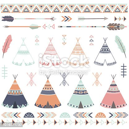 A vector illustration of Tribal Teepee Arrow Collections. Perfect for invitations, blog, web design, graphic design,embroidery, scrapbooking, scrapbook elements, papers, card making, stationery, paper crafts and so much more!
