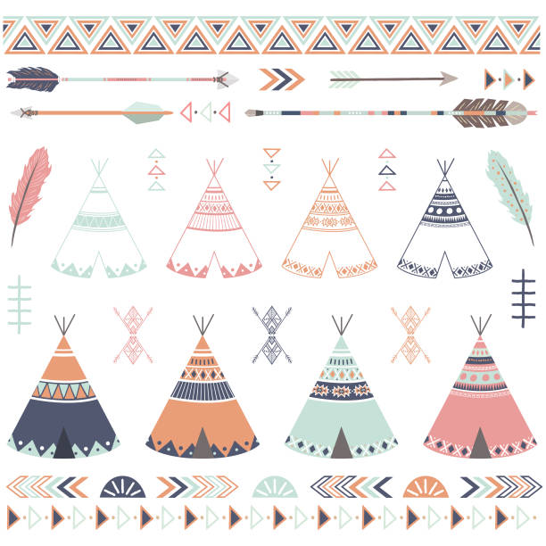 Tribal Teepee Arrow Collections A vector illustration of Tribal Teepee Arrow Collections. Perfect for invitations, blog, web design, graphic design,embroidery, scrapbooking, scrapbook elements, papers, card making, stationery, paper crafts and so much more! teepee stock illustrations