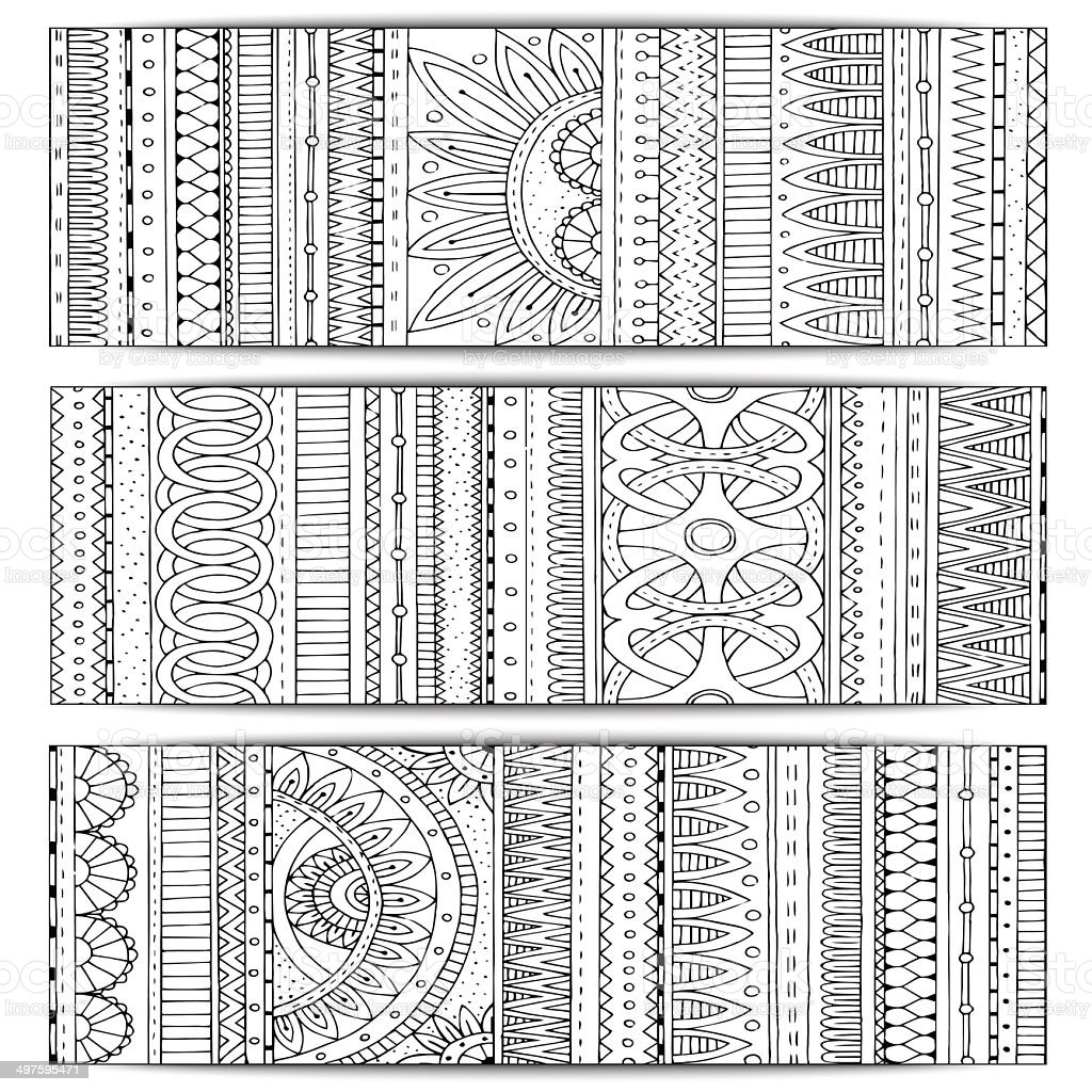Tribal texture. Series of image Template frame design for card. vector art illustration