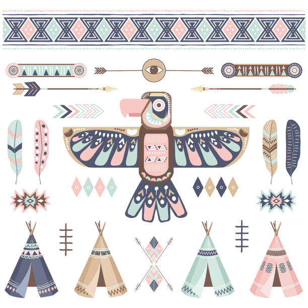 Tribal Thunderbird Elements A vector illustration of Tribal Thunderbird Elements. Perfect for invitations, blog, web design, graphic design,embroidery, scrapbooking, scrapbook elements, papers, card making, stationery, paper crafts and so much more! teepee stock illustrations