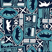 Tribal tiger repeat seamless pattern