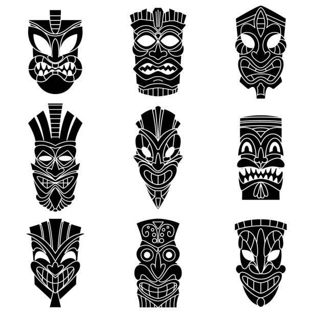 illustrazioni stock, clip art, cartoni animati e icone di tendenza di tribal tiki maschera nero sagome set vettoriale. icone piatte isolate su sfondo bianco. - totem fair
