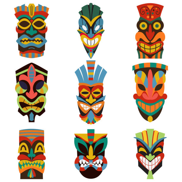 illustrazioni stock, clip art, cartoni animati e icone di tendenza di tribal tiki mask vector set of colorful cut wooden guise. flat icons isolated on white background. - totem fair