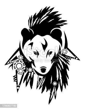 istock tribal totem bear wearing indian chief headdress black vector portrait 1295807192