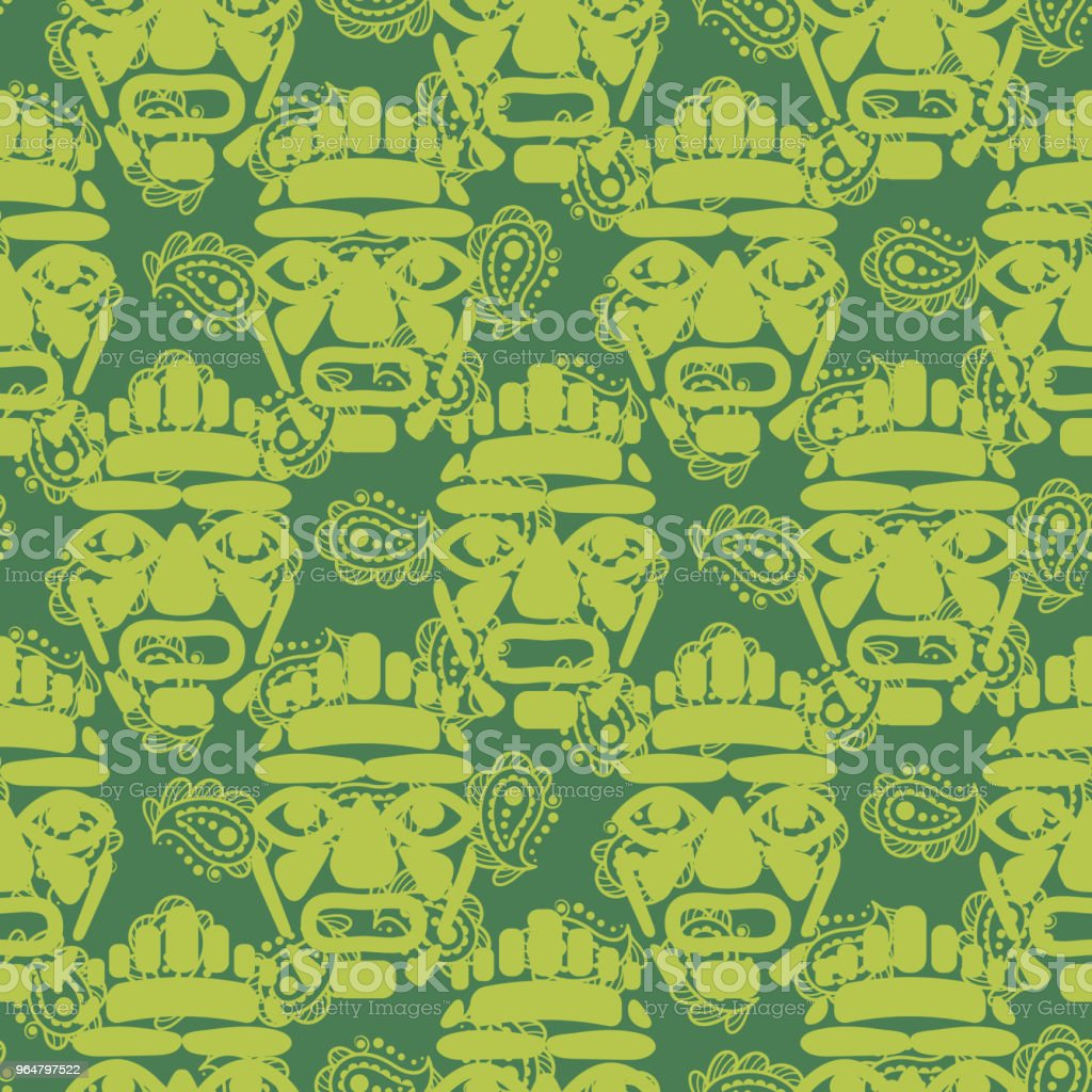Tribal totem mask seamless green textured pattern royalty-free tribal totem mask seamless green textured pattern stock vector art & more images of abstract