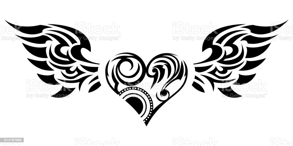 tribal tribal sticker heart and wings design of angel wings and hearts tribal design stock. Black Bedroom Furniture Sets. Home Design Ideas