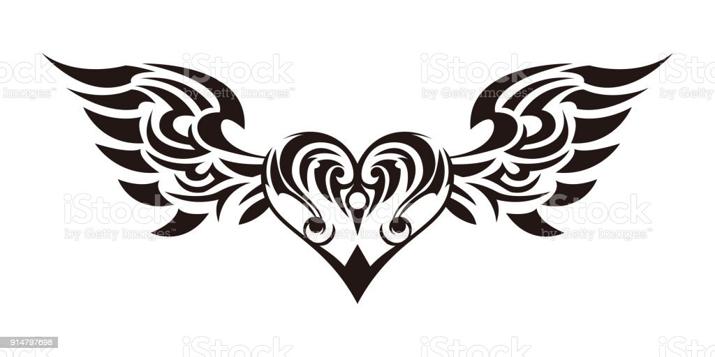 Tribal Tribal Sticker Heart And Wings Design Of Angel Wings And