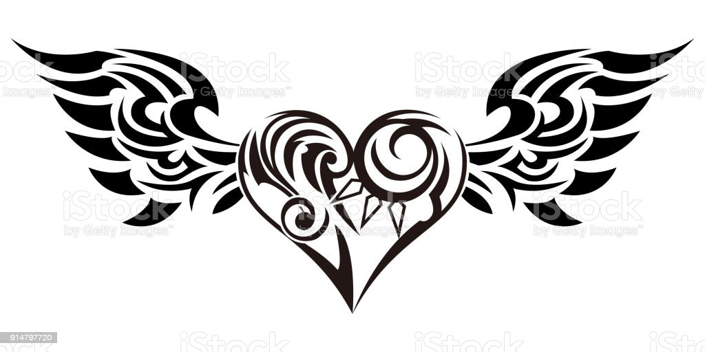 Tribal tribal sticker heart and wings design of angel wings and hearts