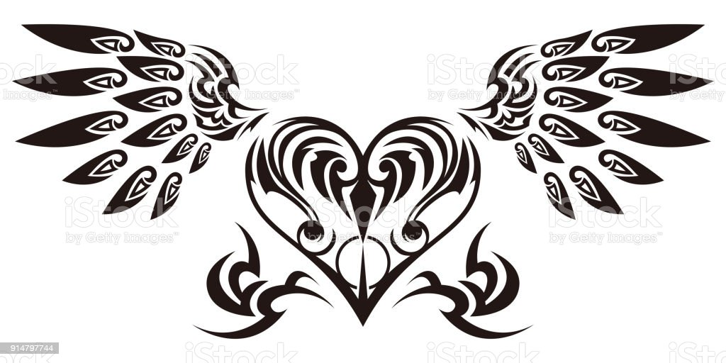Stock Illustration Volleyball Tribal Abstract Vector: Tribal Tribal Sticker Heart And Wings Design Of Angel