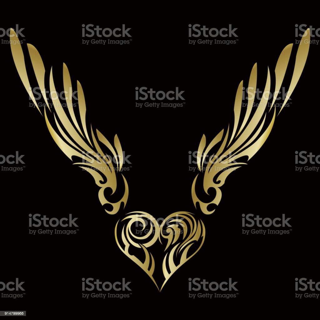 Tribal. Tribal sticker. Heart and wings. Design of angel wings and hearts. Tribal design.