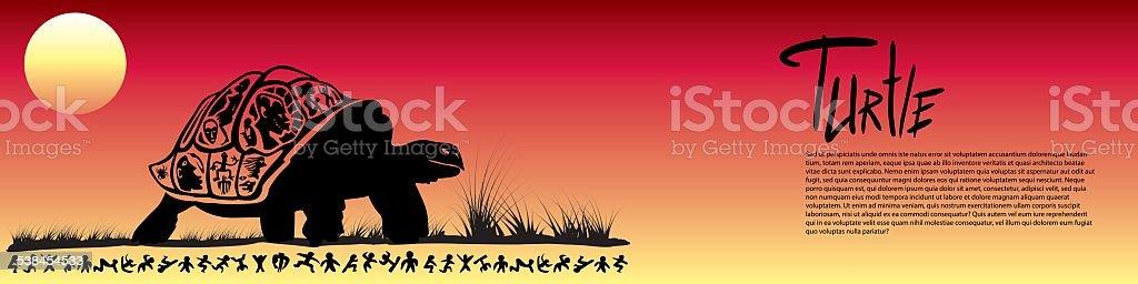 Tribal turtle banner vector art illustration