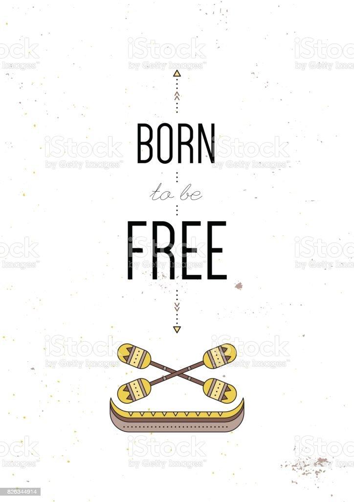 Tribal typography poster vector art illustration