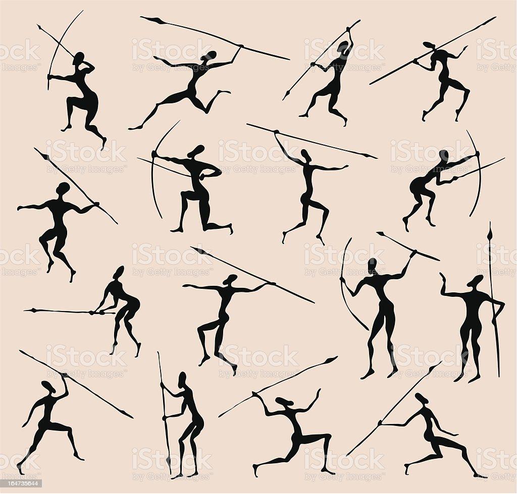 Tribal vector design of prehistoric African hunters vector art illustration