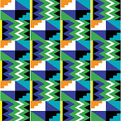Tribal vector seamless textile pattern - Kente mud cloth style, traditional geometric nwentoma design from Ghana, African