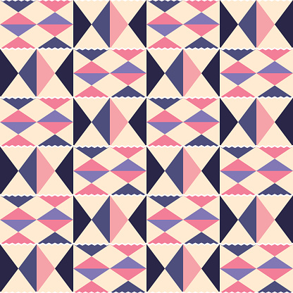 Tribal vector seamless textile pattern - Kente mud cloth style, traditional geometric nwentoma design from Ghana, African in pink and purple