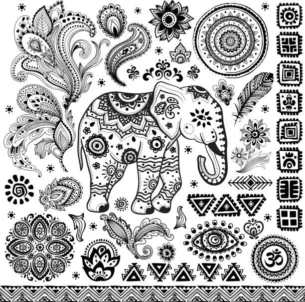 stockillustraties, clipart, cartoons en iconen met tribal vintage ethnic pattern set - indiase cultuur