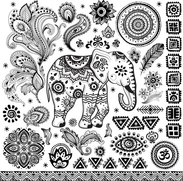tribal vintage ethnic pattern set - indian stock illustrations, clip art, cartoons, & icons