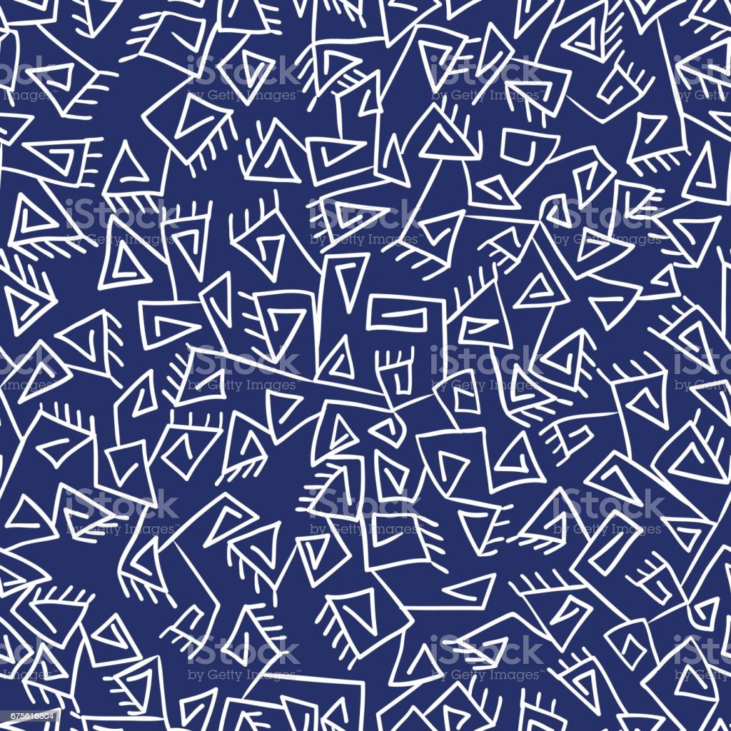 Tribal vintage prickly ethnic pattern. Blue and white vector background. vector art illustration
