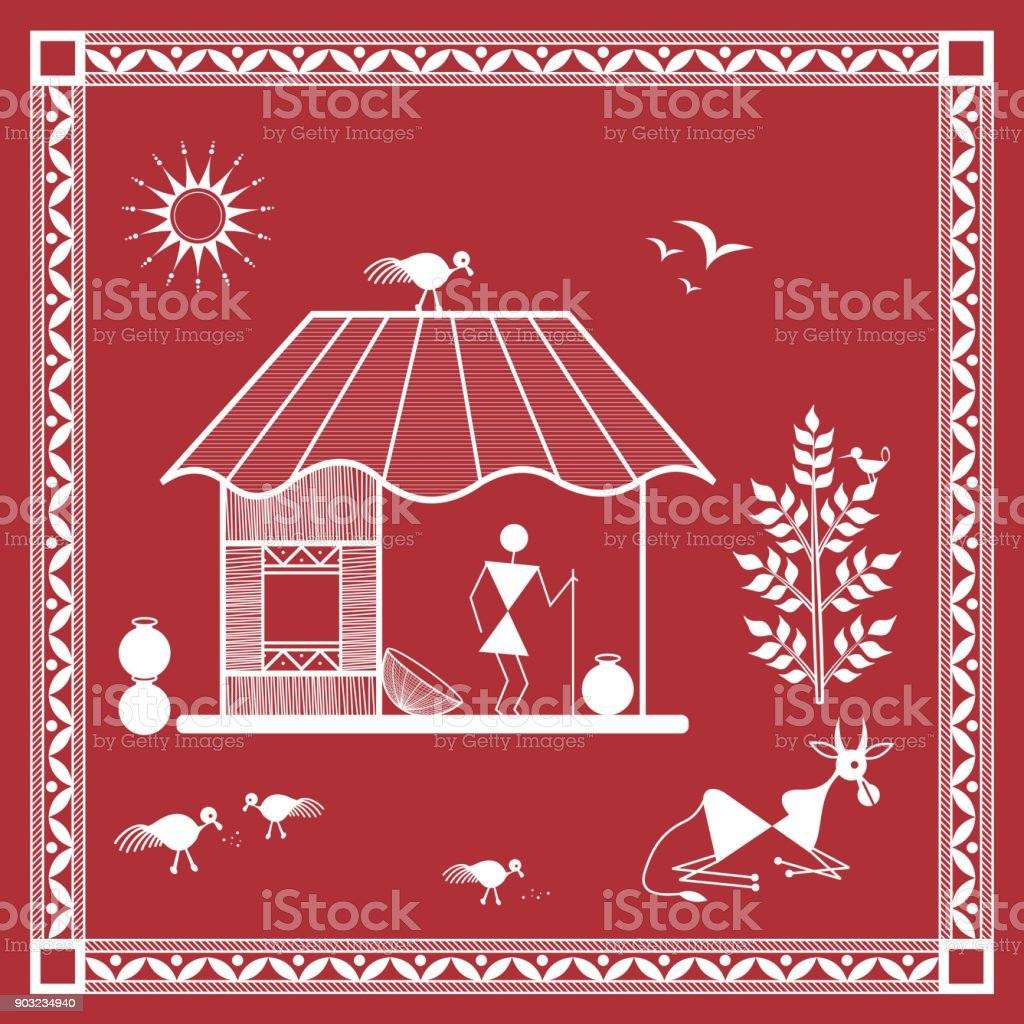 Tribal warli painting illustation of a village house stock vector tribal warli painting illustation of a village house royalty free tribal warli painting illustation of thecheapjerseys Image collections