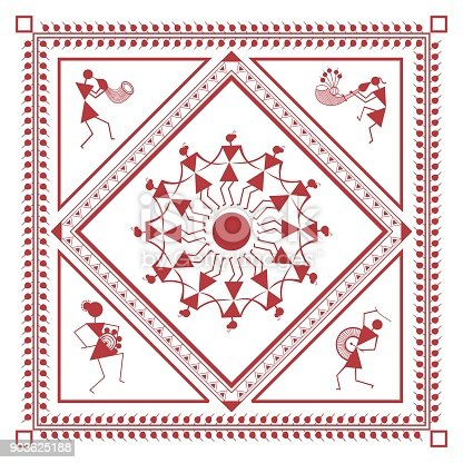 Tribal Warli Painting Music And Dance Frame Stock Vector Art & More ...