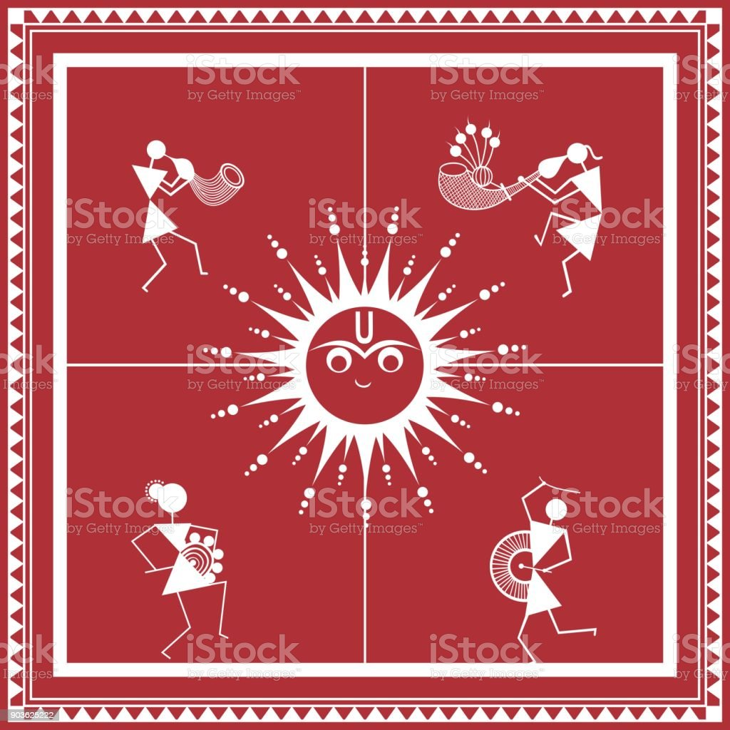 Tribal warli painting music and dance frame stock vector art more tribal warli painting music and dance frame royalty free tribal warli painting music and dance altavistaventures Gallery