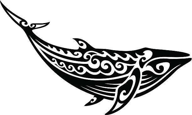 tribal whale - maori tattoos stock-grafiken, -clipart, -cartoons und -symbole