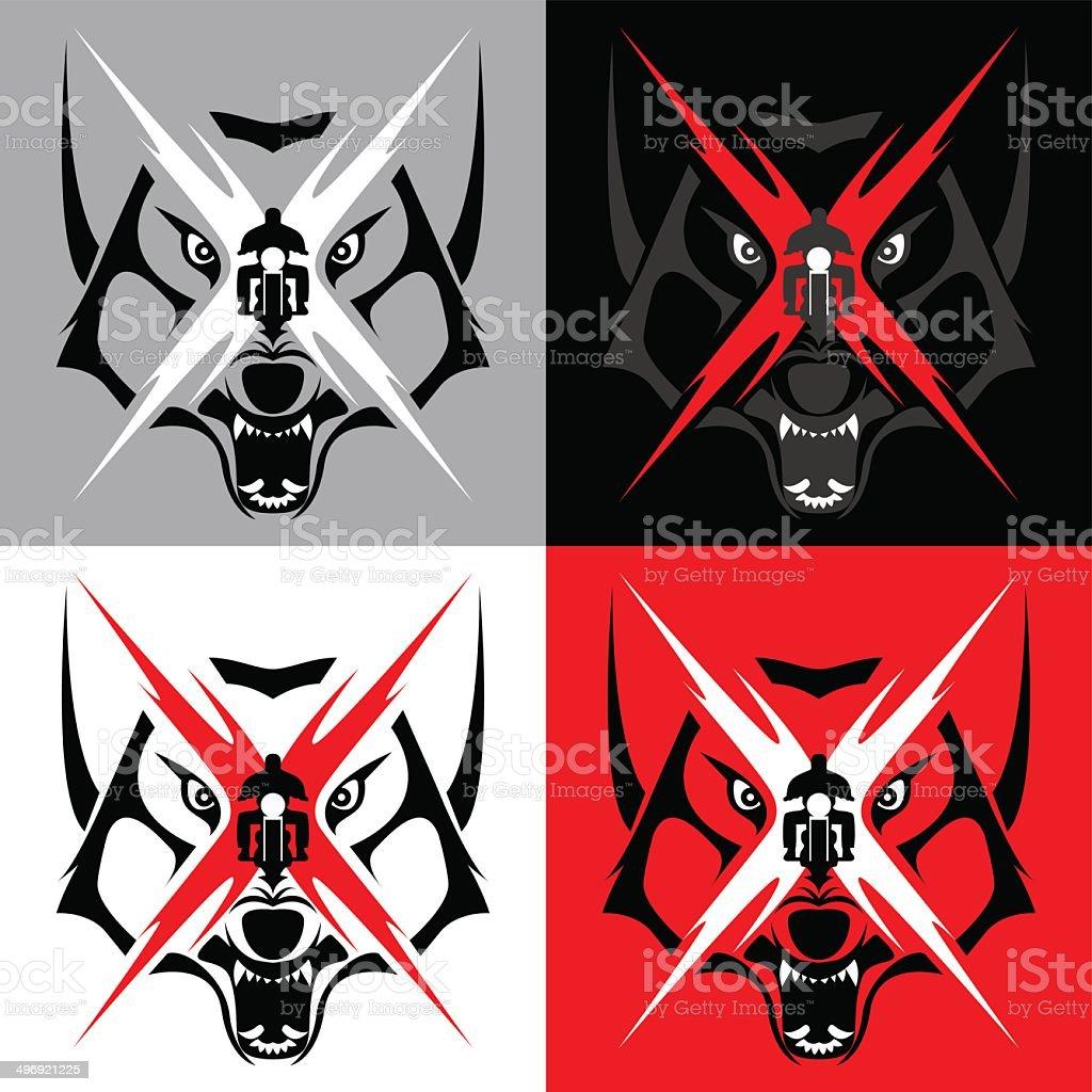 Tribal Wolf Emblem Tatoo for Big Motorcycle Biker vector art illustration