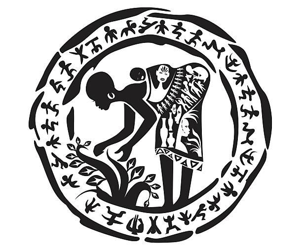 Tribal woman tattoo vector art illustration