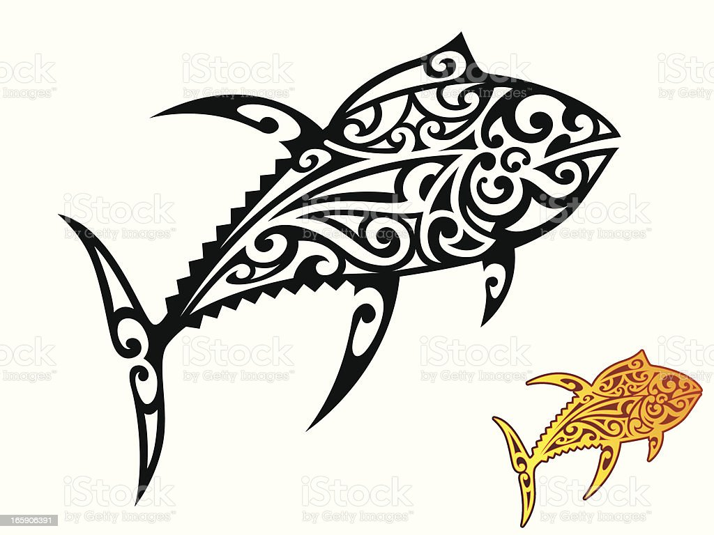 Tribal Yellowfin Tuna Stock Vector Art & More Images of Animal ...