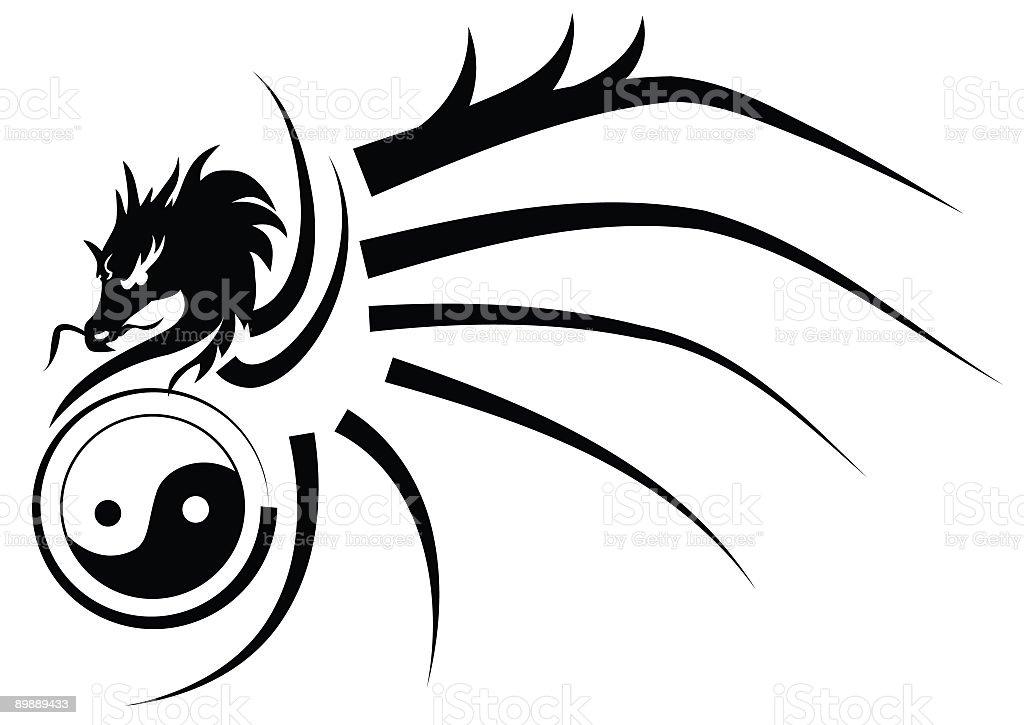 トライバル陰陽ドラゴン・タトゥーの女スタイルのブラックとホワイトのシルエット ロイヤリティフリートライバル陰陽ドラゴンタトゥーの女スタイルのブラックとホワイトのシルエット - イラストレーションのベクターアート素材や画像を多数ご用意