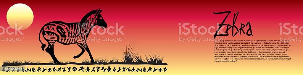 Tribal zebra banner vector art illustration