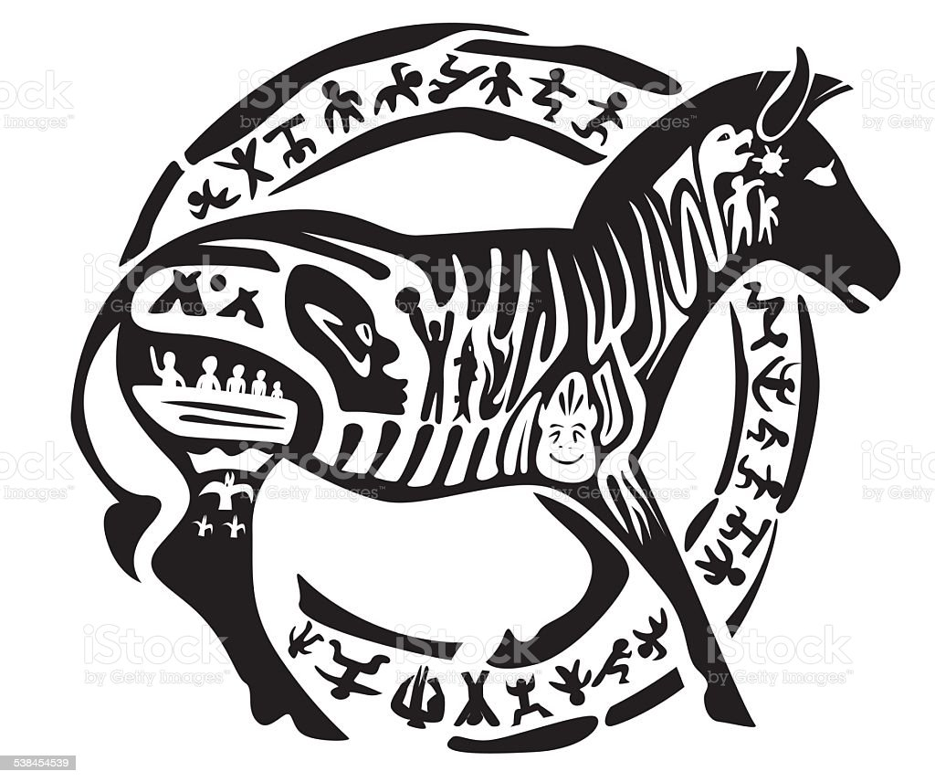 Tribal zebra tattoo vector art illustration