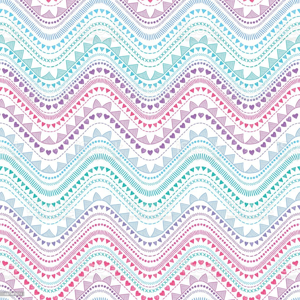 Tribal zigzag pattern vector art illustration