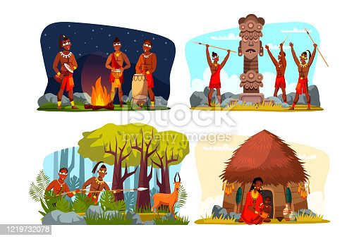 Tribe family and community daily routine flat set. Cartoon primitive people hunting, resting playing music on tribal instruments at fireplace, praying, taking care of kid. Vector illustration