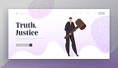 Tribunal and Justice Concept for Website Landing Page, Attorney Lawyer in Court Wearing Black Suit Holding Huge Gavel. Judgment System, Justice Web Page. Cartoon Flat Vector Illustration, Banner