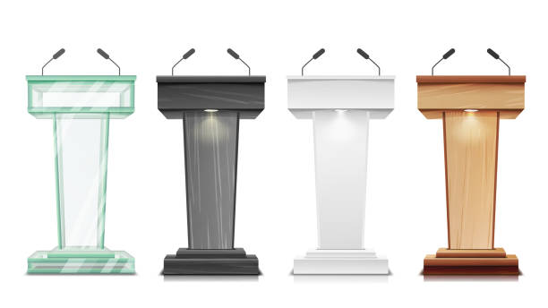 Tribune Set Vector. Podium Rostrum Stand With Microphones. Business Presentation Or Conference, Debate Speech Isolated Illustration Tribune Set Vector. Podium Rostrum Stand With Microphones. Business Presentation Or Conference, Debate Speech Isolated debate stock illustrations
