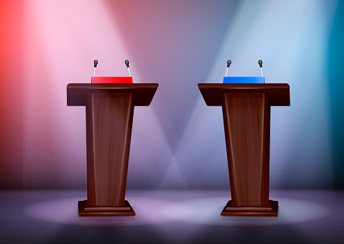 Two tribunes for debate on stage illuminated by floodlights realistic colored composition 3d vector illustration